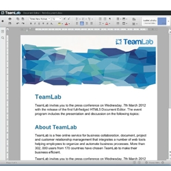 First online HTML 5 based Word processor is announced by TeamLab