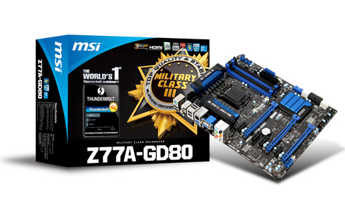 MSI Launches world's first mainboard Z77A-GD80 with next-generation Thunderbolt transfer interface