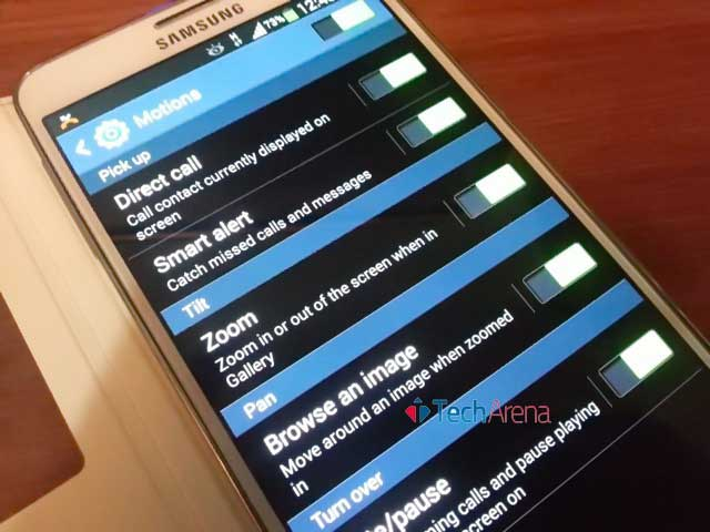 How to zoom in and zoom out through Tilting Samsung Galaxy Note 3