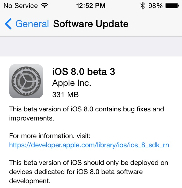 iOS 8 Beta 3 released by Apple for Developers