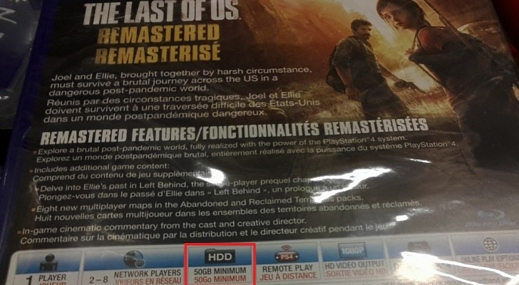 The Last of Us: Remastered requires atleast 50GB of PS4 hard drive space