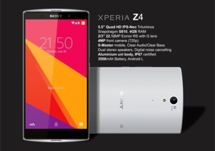 Sony Xperia Z4 smartphone rumored to feature Quad HD Display, Snapdragon 810