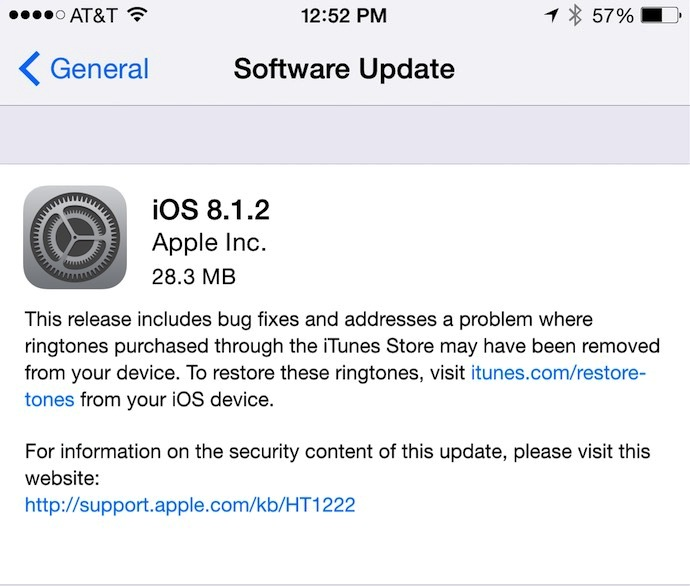 Apple iOS 8.1.2 is available for download
